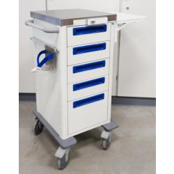 Medicijnwagen 1/2  hoog, 4 x 10 cm lades en 1 x 20 cm lade