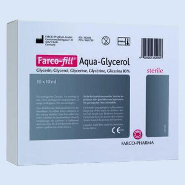 Aquadest spuit 10ml. 10% glycerine, v.balloncath verp.à 10 stuks